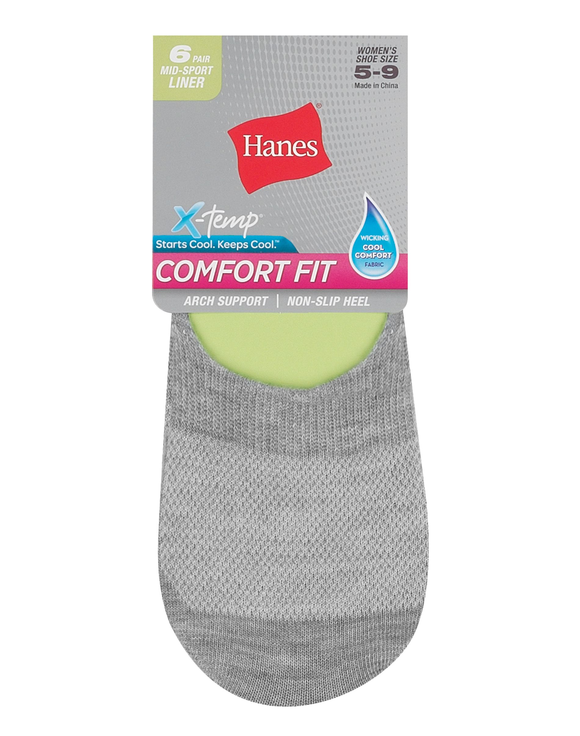 hanes women's comfort fit invisible liner: mid sport, 6-pack women Hanes